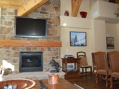 Gas Fireplace with flat screen HD TV mounted above