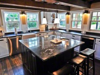 Edgartown house photo - Kitchen Features Marble Breakfast Bar/Prep Island, Granite Countertops, Stainless Appliances, Farmer's Sink & Wine Refrigerator