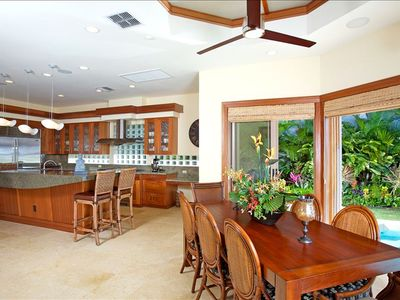 Kapalua house rental - Dining Table seats 8, breakfast bar seats 4, and outdoor dining seats 8.