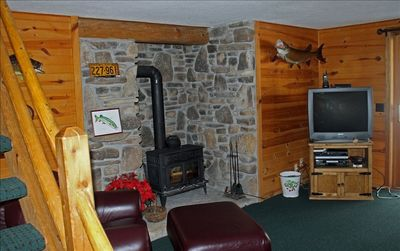 Lower level TV room with wood burning stove.