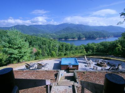 Lazy Elk Cabin porch view overlooking Fontana Lake & Great Smoky Mt Ntl Park