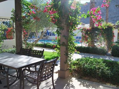 La Quinta villa rental - Step outside your dining area and enjoy the pool and mountain views.