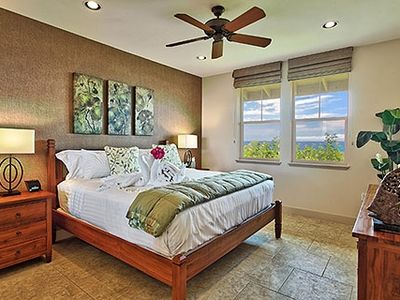 Master bedroom of our oceanfront Waikoloa rental