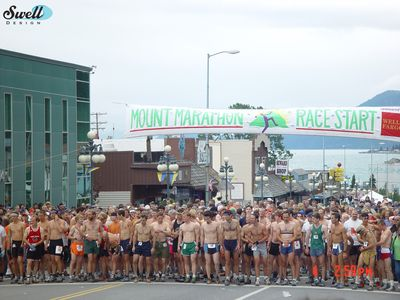 The start of the Mt. Marathon race, held every 4th of July.