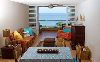 Cabo Rojo condo photo - Living room and balcony