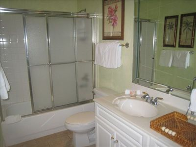 The guest bath has a tub with a shower, it is easy to step right in.