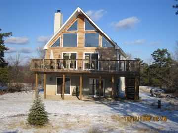 Albrightsville chalet rental - 5 Bedroom Pocono Chalet front view. Wooded lots with ID #221844 next door.