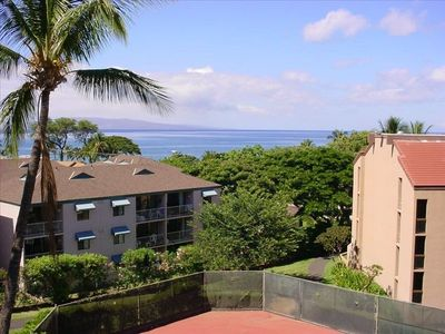 View of Ocean from Lanai (looking past tennis courts & edge of building 1)