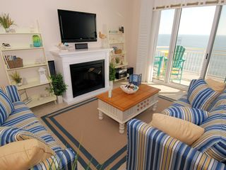 Gateway Grand Ocean City condo photo - Relax & Watch a Movie On the Oceanfront in Front of the Fireplace!