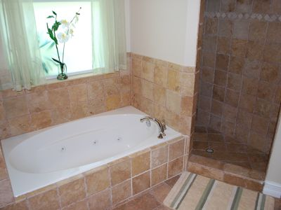 Master Tub and Marble Walk-In Shower