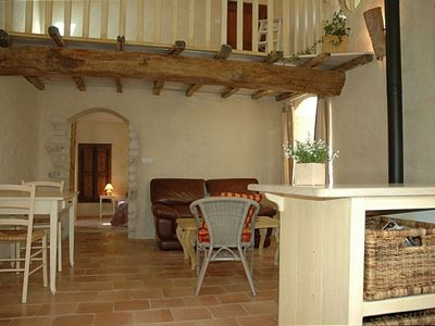 Living room with ancient beam and posts - Gite in Provence