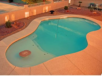 Pool with Beach Deck & Fire Ring