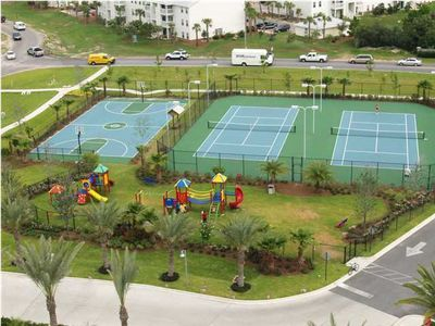 Lighted Tennis Courts, Full Size Basketball Court and Children's Playground