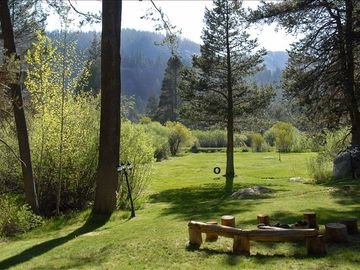 Large, sunny, private backyard backs up to the Upper Truckee River.