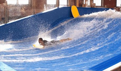 The Flow Rider at the INDOOR water park!!
