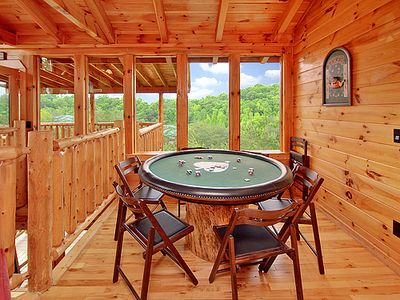 Pigeon Forge cabin rental - Upper level game room with poker table Panoramic views