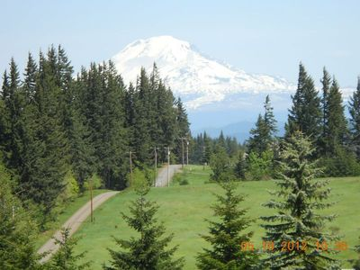 White Salmon house rental - Stunning Mt. Adams View from our house/living room/deck!