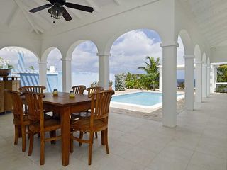 Bonaire villa photo - Covered porch overlooking the pool deck