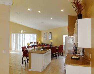 Welcome! - The front door opens to a spacious great kitchen/dining/living area