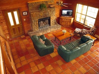 Great Room with Cozy Stone Fireplace ...