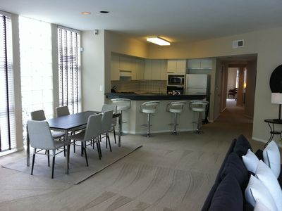 Dining area into kitchen
