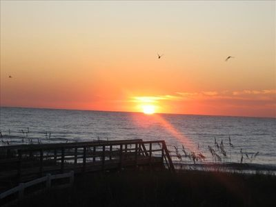 Grab your coffee and join the sea gulls for a breathtaking sunrise on the ocean.