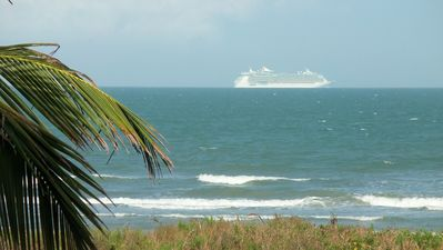 Watch Cruise Ships from your balcony.