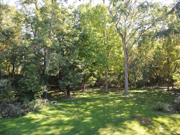 View of lawn, gardens, and woods from deck