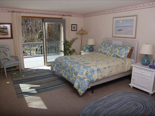 New Seabury house photo - Sunny 1st floor master bedroom opens to deck and beautiful private back yard