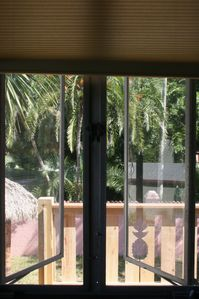 Nokomis house rental - View out a bedroom window.