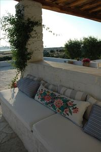 Paros house rental - Master Suite Sitting Area