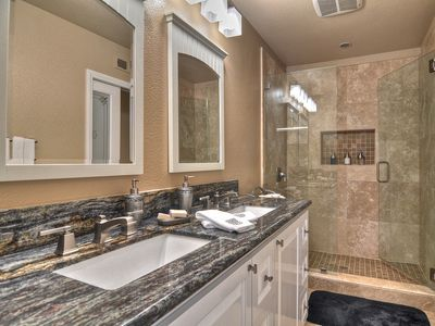 You'll Love the Master Bath, Double Sinks, Granite Counters, Travertine Shower