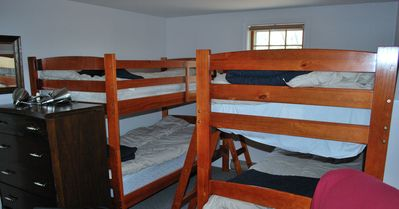 Bunk beds (in bunk room!). Space for four children.
