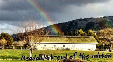 Rainbow over Meadowlark Vineyards barn