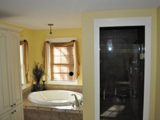 Kennebunkport house photo - Master bath with large tile shower, soaking tub and separate vanities