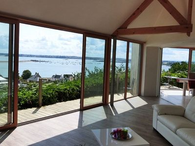 Exceptional 180 ° sea view, waterfront house 250 m from the beach, 6 pers.