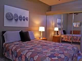 Palm Springs house photo - 2nd Bedroom. Queen Bed, Large Closet, Ceiling Fan, Clerestory Windows.