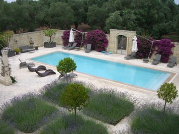 View of pool and lavender garden from roof top terrace