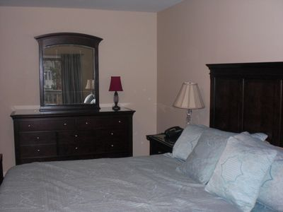 Nice dresser and chest of drawers in Master. Huge room with King sized bed.
