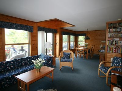 Long view of living and dining area