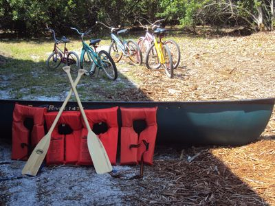 5 bikes (3 adults + 2 children) & canoe w/4 life vests