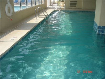 Heated Pool inside the building!  New Excercise room now OPEN!