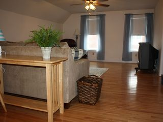 York Beach apartment photo - Beautiful living room with light hardwood flooring