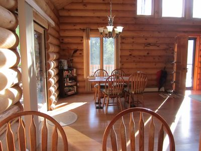 Black River Falls cabin rental - Large dinning room ajoining deck with large table