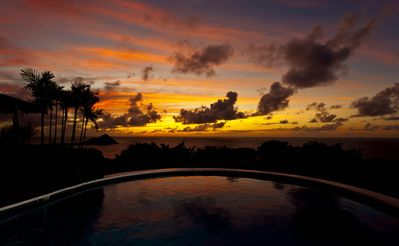 Watch the fantatsic sunsets from the pool overlooking the sea