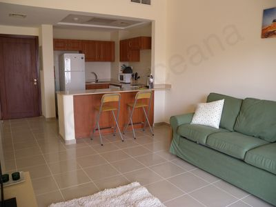 Ras Al Khaimah (RAK) apartment rental - The living area and kitchen