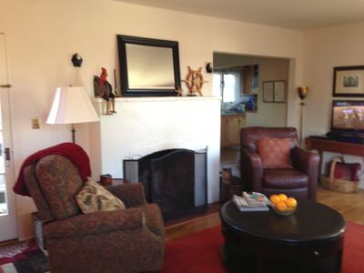 Comfortable seating with warm atmosphere and Flat screen TV with BluRay player.