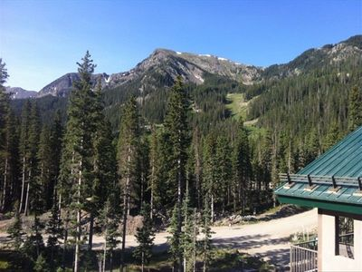 Taos Ski Valley condo rental - BEAUTIFUL views!! This is the ski area in the summer from our private deck.