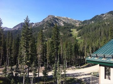 BEAUTIFUL views!! This is the ski area in the summer from our private deck.