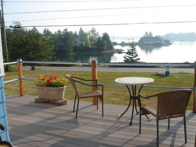 The front deck overlooking Bass Harbor